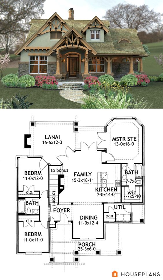 Craftsman mountain house plan and elevation 1400sft for Mountain cabin house plans