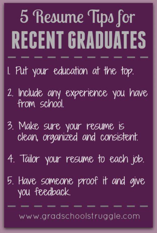 Resume Tips for Recent Graduates - The Grad School Struggle - 5 resume tips