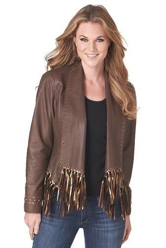 Grommeted Open Front Draped Jacket w/ Metallic Foil Fringe