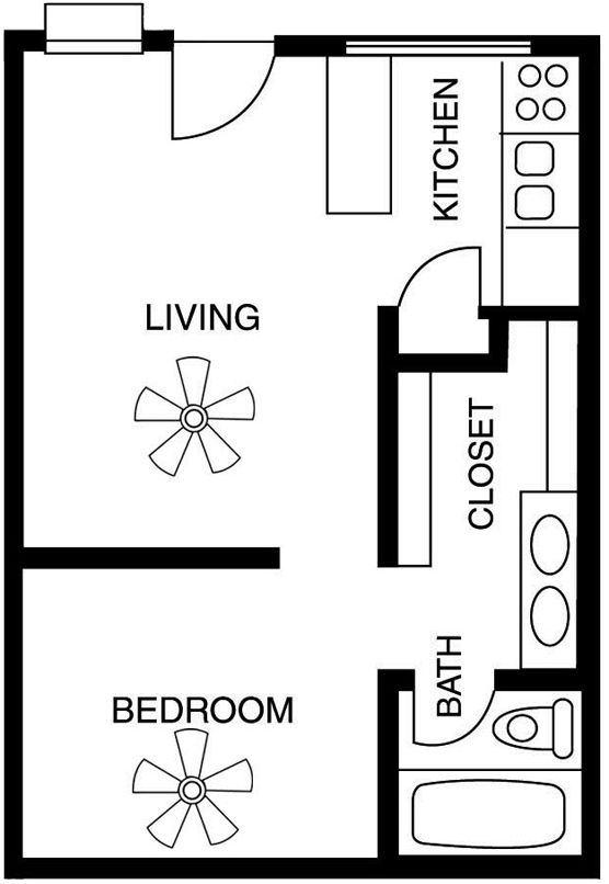 Studio apartment floor plans google search studio for Apartment plans 1 bedroom