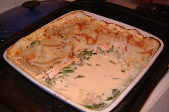 Potato and Smoked Salmon Lasagna. Photo by Tulip-Fairy