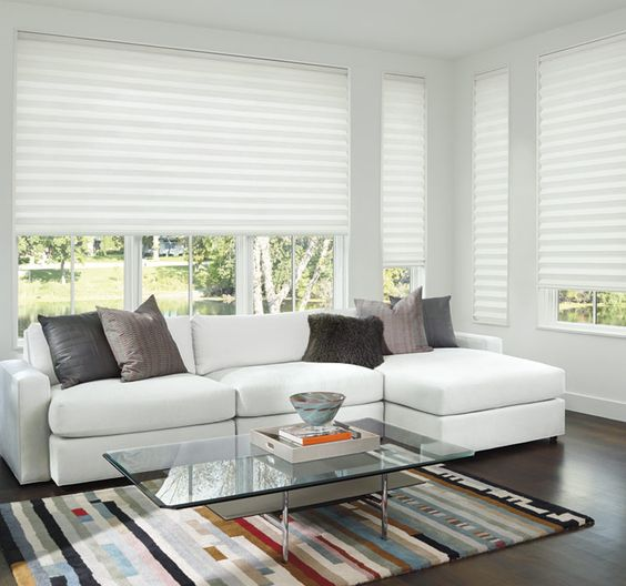 These beautiful Solera Soft Shades hang with the beauty of a Roman Shade and have the function of an energy saving Honeycomb Shade