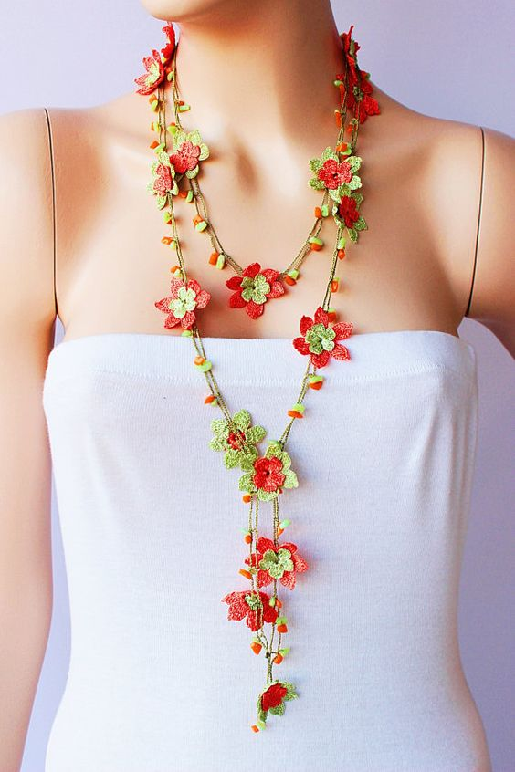 Crochet Strand oya necklace jewelry / Turkish oya necklace/ crochet flower…