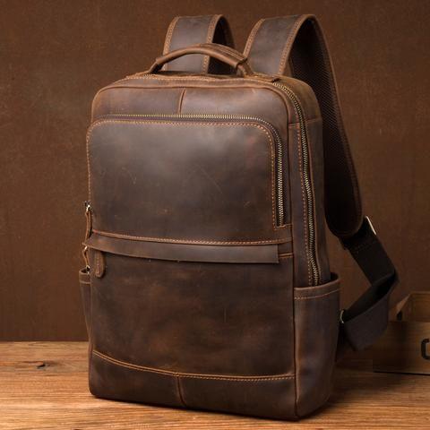 Brown Vintage Handmade Crazy Horse Leather Backpack 16