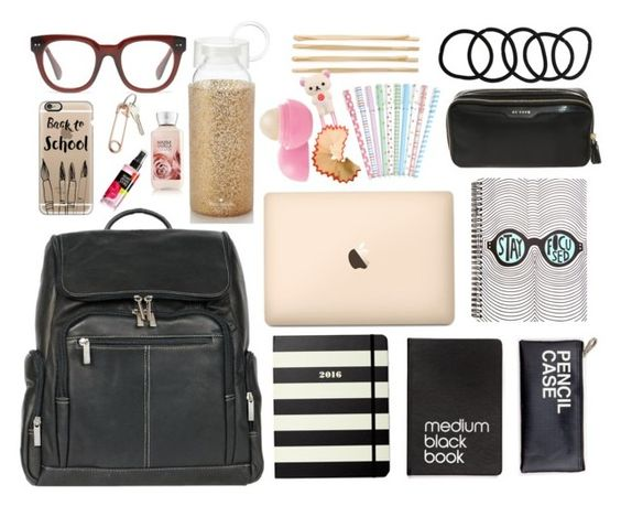 """Back to School...what's in my backpack"" by miss-janelle ❤ liked on Polyvore featuring McKleinUSA, Kate Spade, Dinks, Anya Hindmarch, Cara, Eos, Wet Seal, Madewell, Casetify and CB2"