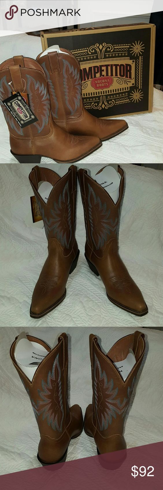 NOCONA COMPETITOR BROWN LEATHER COWBOY BOOTS 6.5 For sale is a women's pair of western cowboy boots from the Justin Boot Barn. The style name of the boot is The Competitor. The Style number is NL1115. The boot has a leather upper inside and out.These boots are brand new with tags, box and all packing. There is a winged or feathered pattern on the upper area of the boot and stitching on the vamp for added style as well. The outsole is durable yet flexible. The size is a generous  6.5B. So if…