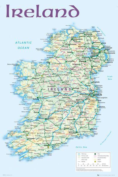 Plakat Mapa Polityczna Irlandii Plakat I Obrazy