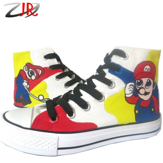 (Buy here: http://appdeal.ru/drs ) YJR Mario Bro Couple Shoes Fashion Men Women Casual Shoes High-Top Style Game Figure Statue Mario Unisex Graffiti Canvas Shoes for just US $63.98