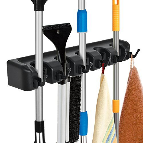 Auwey Mop Broom Holder Wall Mount With Hook Gripper Slot Https Www Amazon Com Dp B07cys8h9k Ref Cm Sw R Pi Awd Broom Holder Broom Storage Mops And Brooms