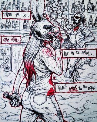 """work, 9""""x12"""", ink : Art"""