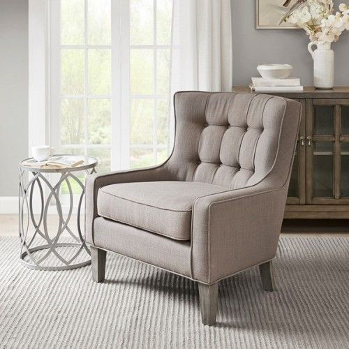 Grey Back Tufted Comfy Accent Lounge Chair Chair Lounge Chair