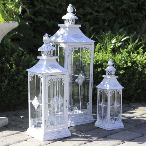 Laterne Windlicht Garten Balkon Terrasse Kerzenhalter Landhaus Weiß Metall