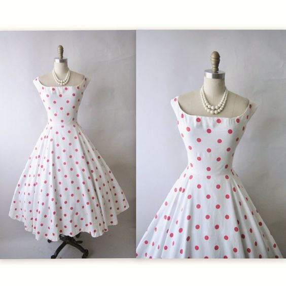 50&-39-s Polka Dot Dress // Vintage 1950&-39-s Red White Polka Dot Cotton ...