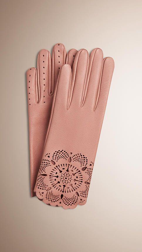 Rosa cobre Guantes en piel con motivo de encaje perforado con láser - Imagen 1
