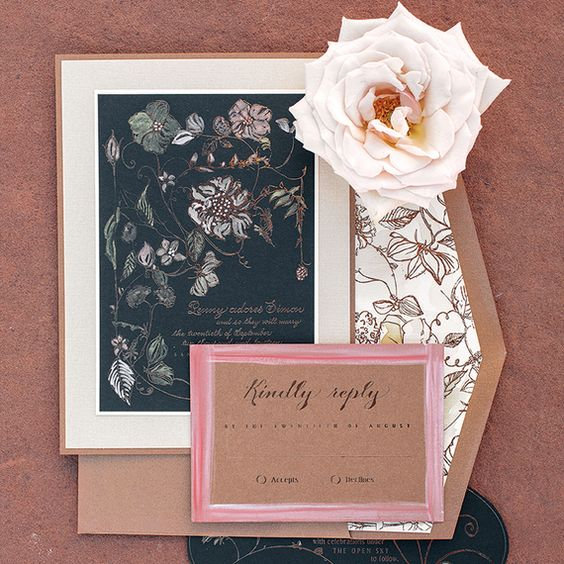 Absolutely beautiful wedding invitations in marsala & caramel