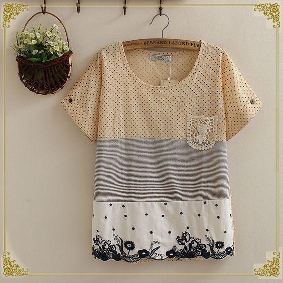 夏季新款森女系文藝小清新花卉刺繡圓點條紋拼接貼布口袋短袖T恤