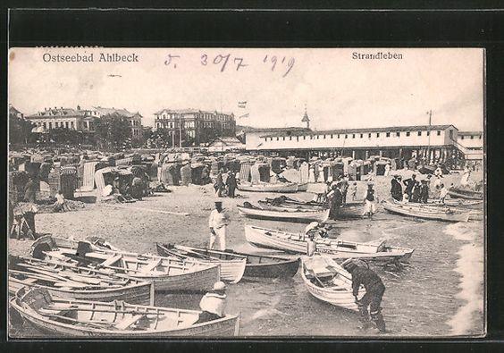 Alte Ansichtskarte: AK Ahlbeck, Strandleben mit Strandhotels, das 2. Hotelzimmer von links zeigt das Hotel Seeblick, die Karte ist von 1919