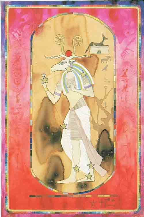 Aries – An Egyptian Zodiac (From 15e Dynasty revisited)  Datum : 21 maart – 20 april  Design: Kantaro, mixed media on paper , 42 x 60 cm, 1992 Postkaart www.postersquare.com: