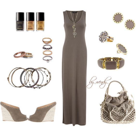 again with the maxi dress, created by wendyfer on Polyvore