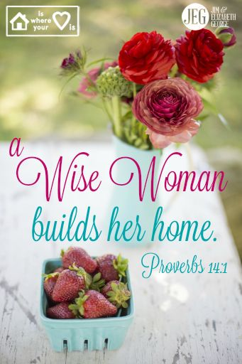 """As homemakers, we are in a unique position to influence the financial climate of our home. Commit to being a wise money manager: Be content with what you have, spend wisely, and be a diligent homemaker and financial warrior as you """"build your home"""" (see Proverbs 14:1). Click here for more financial wisdom: http://jegeorge.co/23fsCbI."""