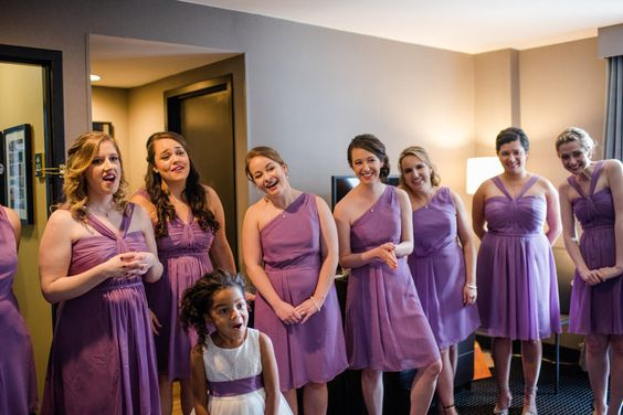 Maryland Zoo Wedding — East Made Event Company and Meghan Rose Photography. Getting ready at Lord Baltimore Hotel purple bridesmaids short chiffon dresses David's Bridal first look
