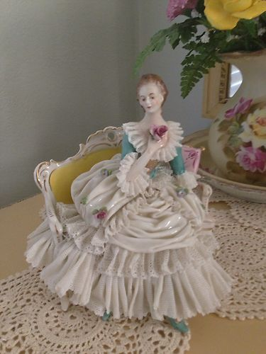 Antique German Dresden Lace Porcelain Lady Figurine Settee Sofa | eBay