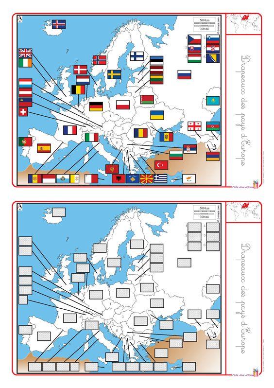 Un dossier complet pour étudier l'Europe (cartes, drapeaux, capitales, habitants).