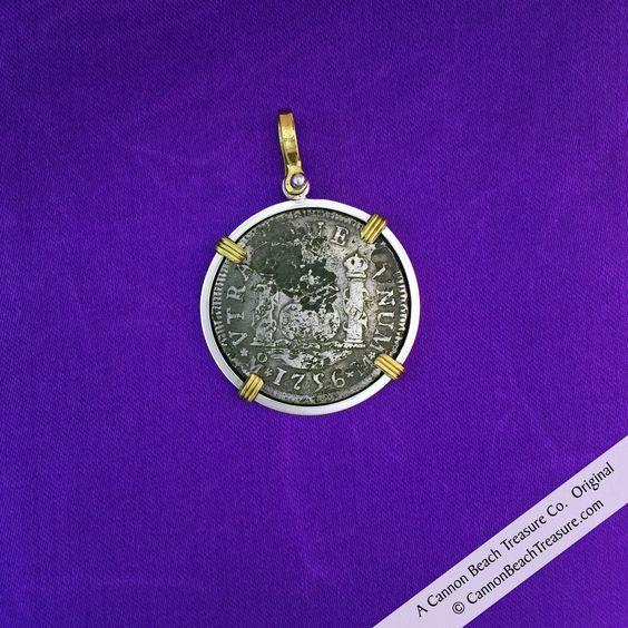 2 Reale Pillar Dollar Treasure Coin Pendant from the Shipwreck El Cazador