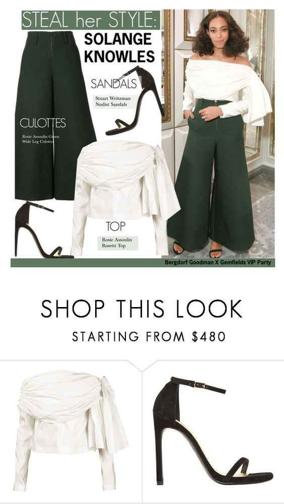 """""""Steal Her Style-Solange Knowles"""" by kusja ❤ liked on Polyvore featuring Rosie Assoulin, Stuart Weitzman, Stealherstyle, celebstyle and Solangeknowles"""