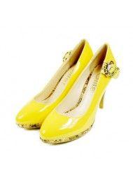 2011 voorjaar en de zomer schoenen gele hoge hakken