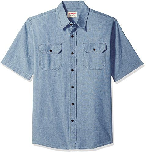 The Wrangler Authentics Mens Short Sleeve Classic Fit Woven Shirt Is Made From 100 P In 2020 Long Sleeve Denim Shirt Dress Gap Denim Shirt Dress Long Denim Shirt Dress