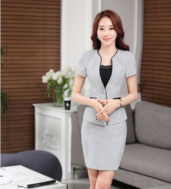 Eleganti per donna grigio blazer donne work indossare abiti con gonna e giacca imposta estate manica corta fashion ufficio stili uniformi(China (Mainland))