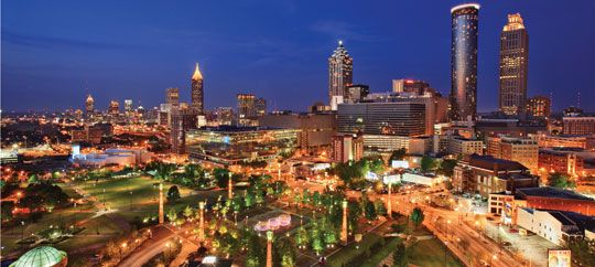 In the heart of downtown Centennial Olympic Park pays tribute to the 1996 Olympic Games.