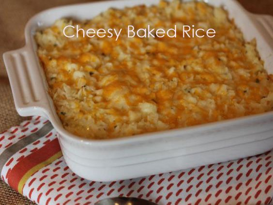 Cheesy baked rice is a quick and easy side dish that goes with just about anything.