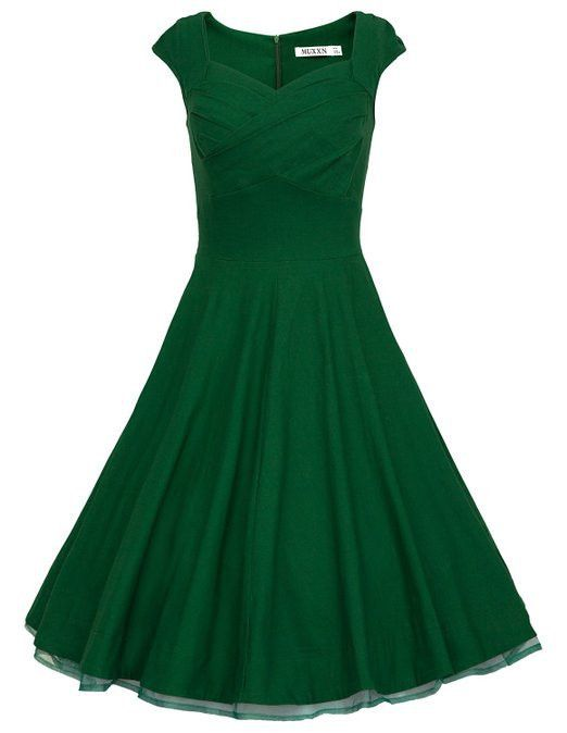 high waist retro swing solid dress audrey hepburn vestidos and green vintage dresses - Green Christmas Dress