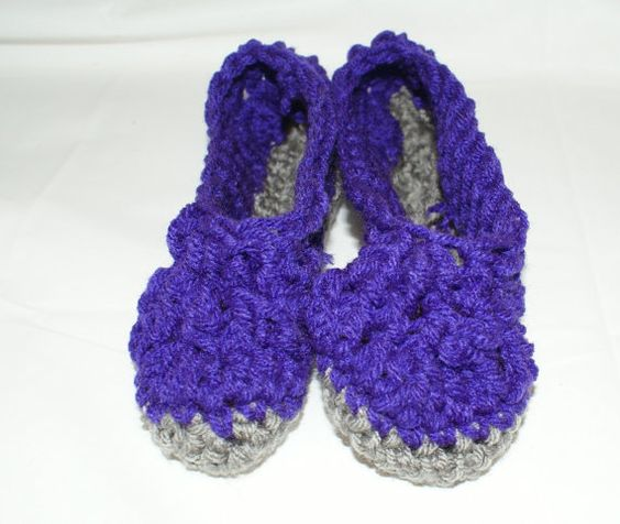 Purple Slippers Girls Slippers Purple House Shoes by lanacooper,