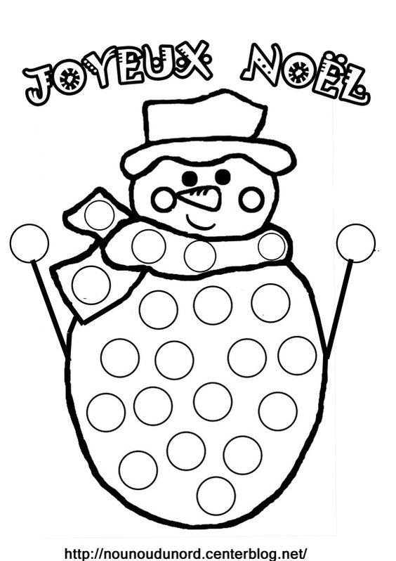 coloriage gommettes bonhomme de neige dessin par nounoudunord imprimer le colorier en pdf