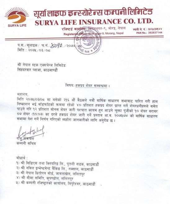 Rights Share Surya Life Insurance Company Limited Life Insurance