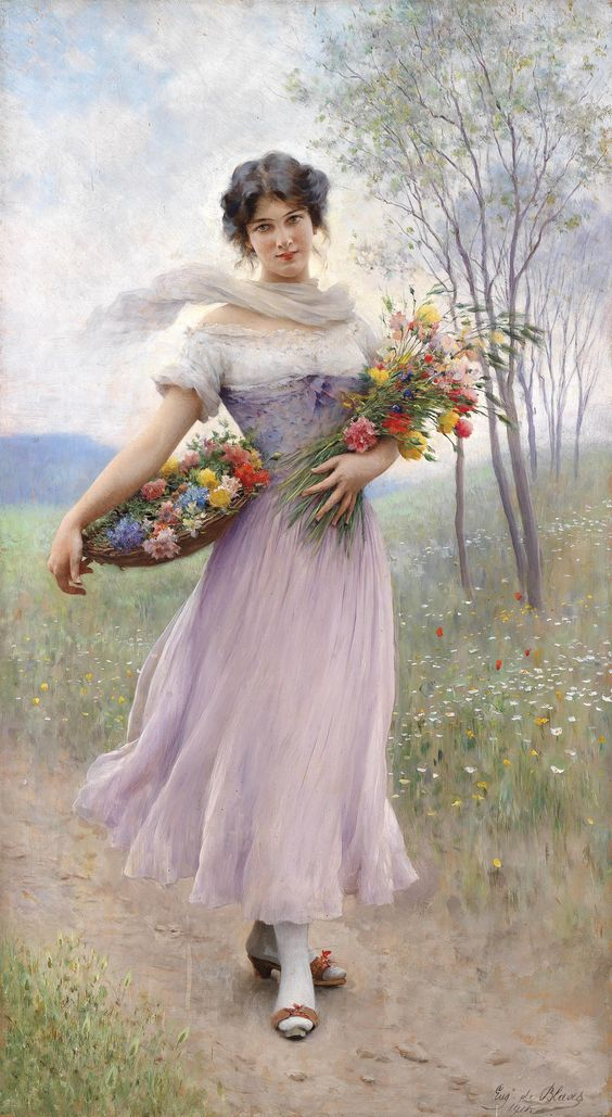 Moça em Vestido Lilás com Buque de Flores - Pintura de Eugene de Blaas - Itália