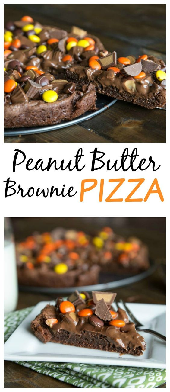 Peanut Butter Brownie Pizza Rich and fudgy brownies serves as the crust for a peanut butter candy topped pizza.