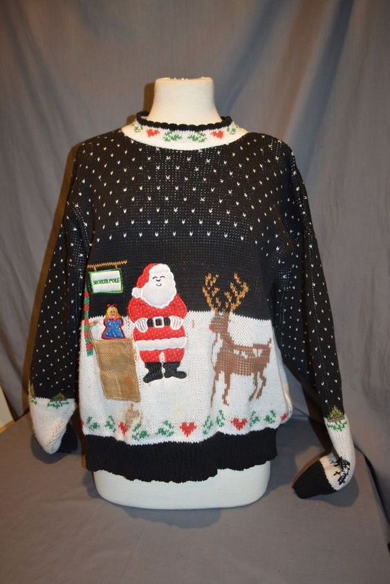 Women's Black Santa Scene Pull Over Sweater Tacky Ugly Christmas No Tags #Unknown #PullOver
