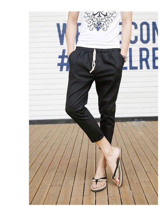 Casual Ankle-length Linen Men Pants