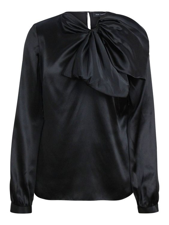 A lustrous black silk blouse accented with a distinctive oversized bow is a romantic pick for evening. Features an unstructured...