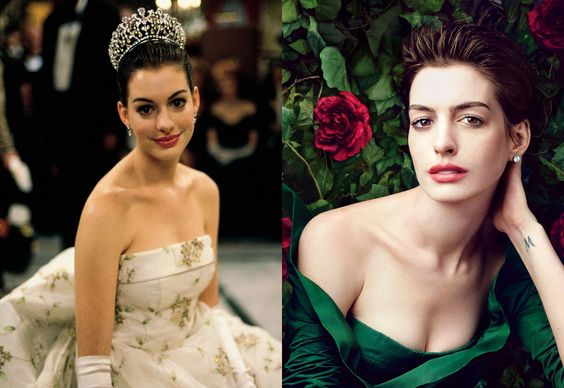 From left: Anne Hathaway as Mia Thermopiles in The Princess Diaries; Anne Hathaway