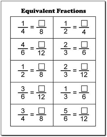 Equivalent Fractions Worksheets Pdf equivalent fractions printable ...
