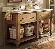 basement bath: Bathroom Sink, Country Bathroom, Rustic Bathroom, Bathroom Vanities, Double Sink, Bathroom Vanity, Bathroom Ideas, Master Bath, Farmhouse Bathroom