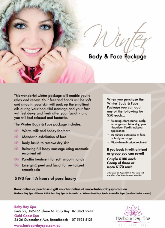 Winter body and face package special goldcoast for Weekend girl getaways spa packages