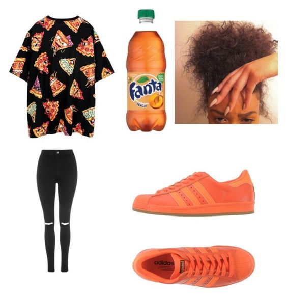 """""""pizza pizza"""" by jataejaherring ❤ liked on Polyvore featuring adidas Originals, Joyrich and Topshop"""