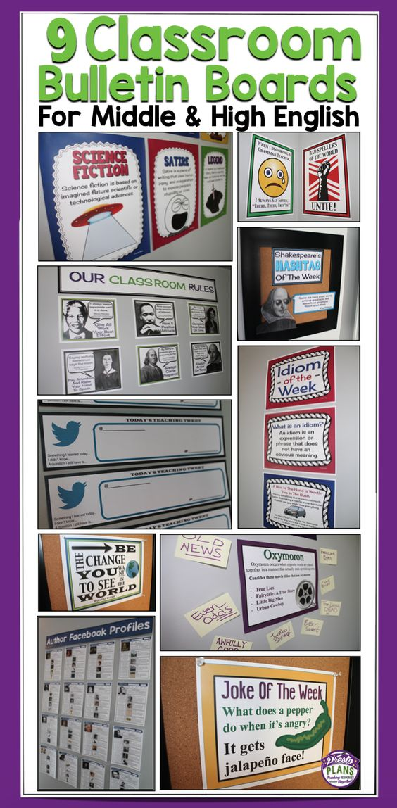 9 Classroom Bulletin Board Ideas For Middle & High School English Language Arts by Presto Plans