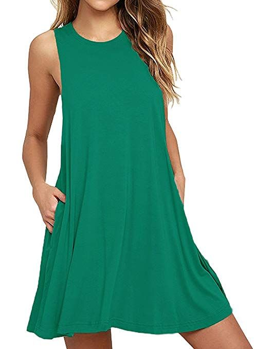 C/&H Womens High Waist Sleeveless Solid Casual Scoop Neck Swing Maxi Dress